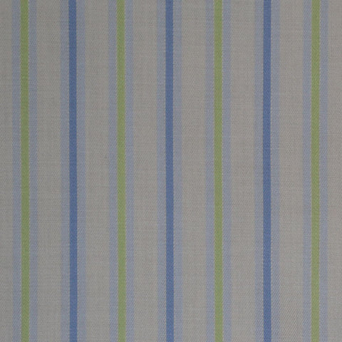 White with Blue & Green Stripe Cotton Shirting