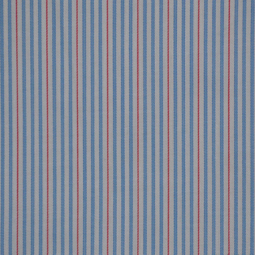 White with Blue & Red Stripe Cotton Shirting