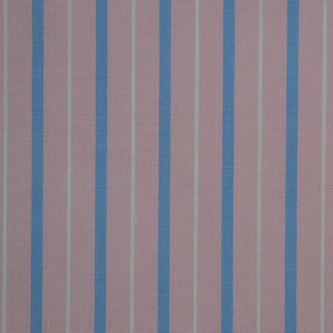 Pink with Blue & White Stripe Cotton Shirting