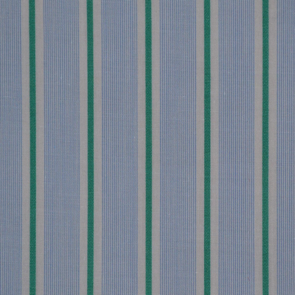 Blue with Green & White Stripe Cotton Shirting