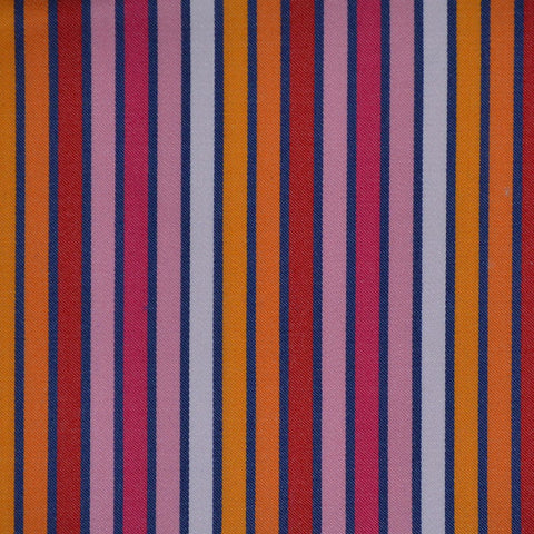 Orange, Red & Pink Multi Stripe Cotton Shirting
