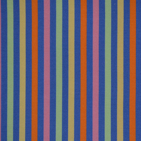 Blue, Orange & Green Multi Stripe Cotton Shirting