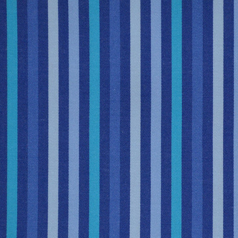 Blue with Light Blue Multi Stripe Cotton Shirting