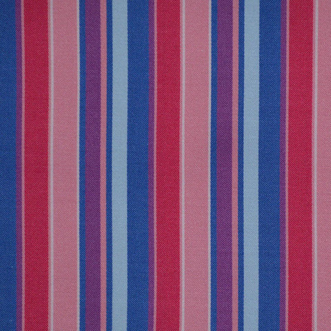 Red, Blue & Pink Multi Stripe Cotton Shirting