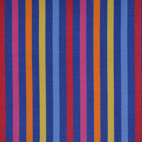 Blue, Pink, Yellow & Red Multi Stripe Cotton Shirting
