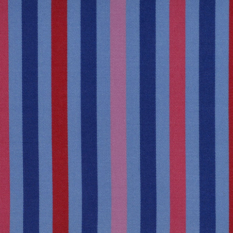 Blue, Red & Pink Multi Stripe Cotton Shirting