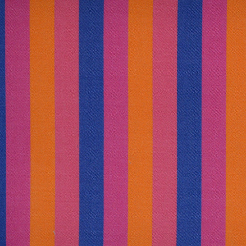 Pink, Orange & Blue Multi Stripe Cotton Shirting
