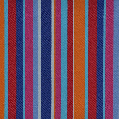 Blue, Orange, Pink & Red Multi Stripe Cotton Shirting