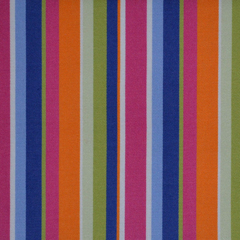 Blue, Orange, Pink & Green Multi Stripe Cotton Shirting