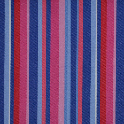 Blue, Pink & Light Blue Multi Stripe Cotton Shirting