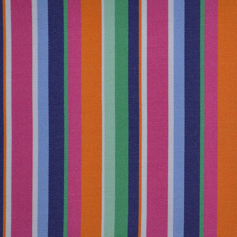 Pink, Blue, Orange & Green Multi Stripe Cotton Shirting