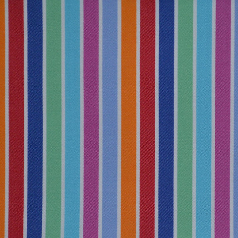 Blue, Red, Green & Pink Multi Stripe Cotton Shirting
