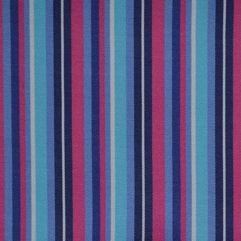 Blue, Pink & White Multi Stripe Cotton Shirting