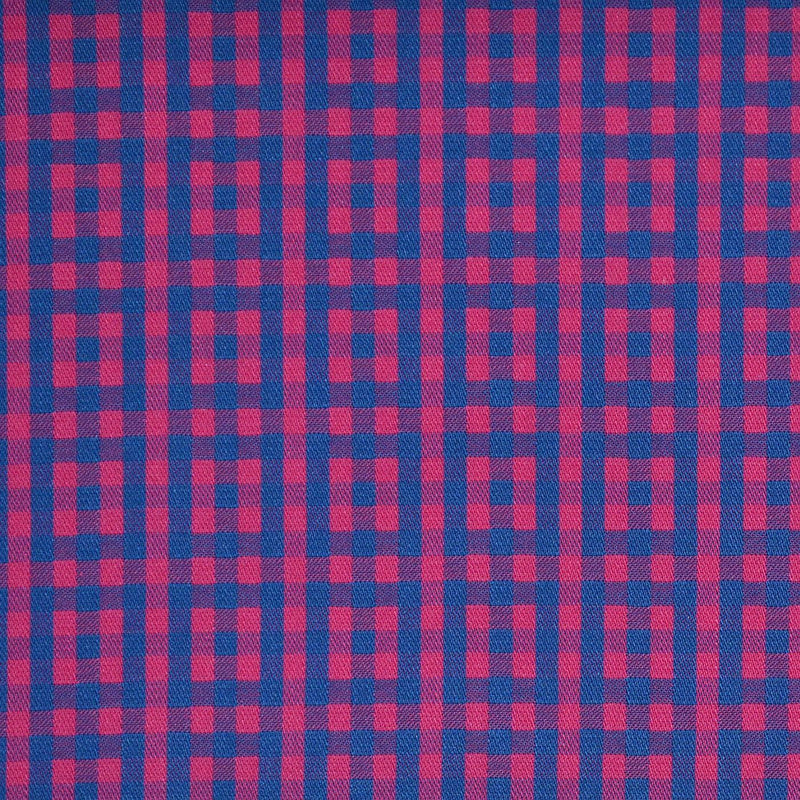 Pink with Blue Geo Check Multi Check Cotton Shirting