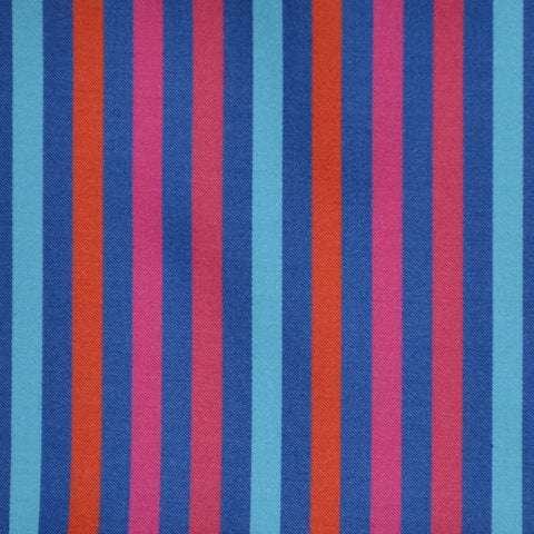 Blue, Orange, Red & Pink Multi Stripe Cotton Shirting