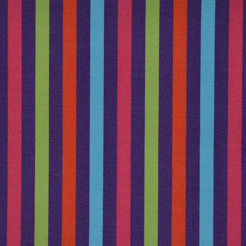 Purple, Orange, Green & Pink Multi Stripe Cotton Shirting