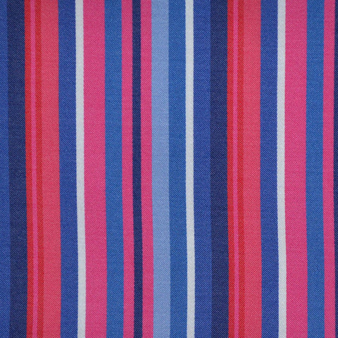 Blue, Pink & Red Multi Stripe Cotton Shirting