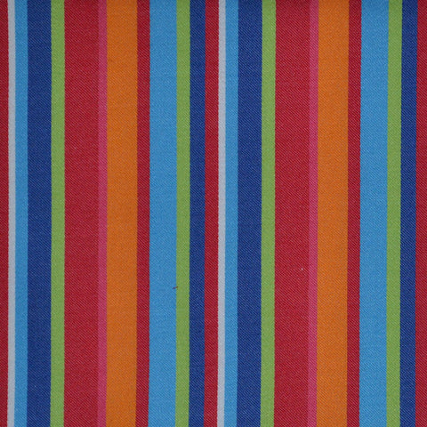 Blue, Red, Orange, Pink & Green Multi Stripe Cotton Shirting