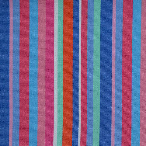 Blue with Pink, Green & Orange Multi Stripe Cotton Shirting