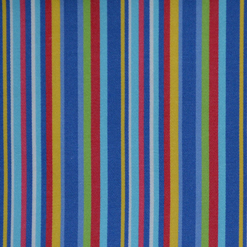 Blue, Red, Green & Yellow Multi Stripe Cotton Shirting