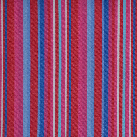 Red, Pink & Blue Multi Stripe Cotton Shirting