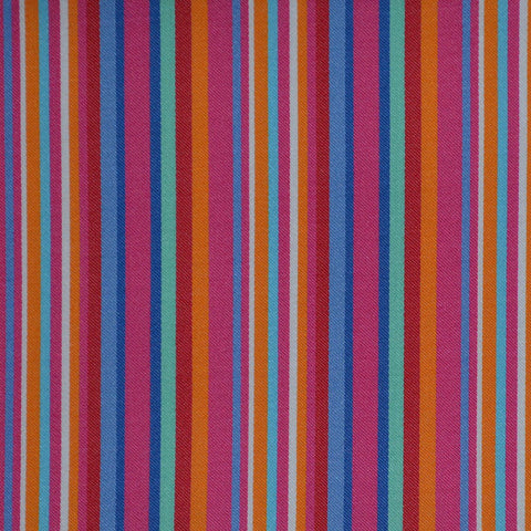 Red, Pink, Blue & Green Multi Stripe Cotton Shirting