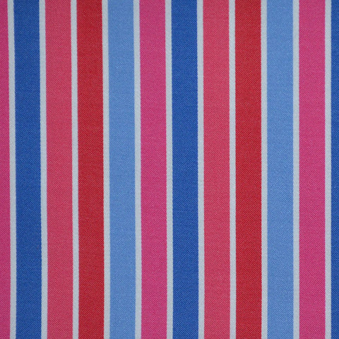 Blue, Pink, Red & White Multi Stripe Cotton Shirting