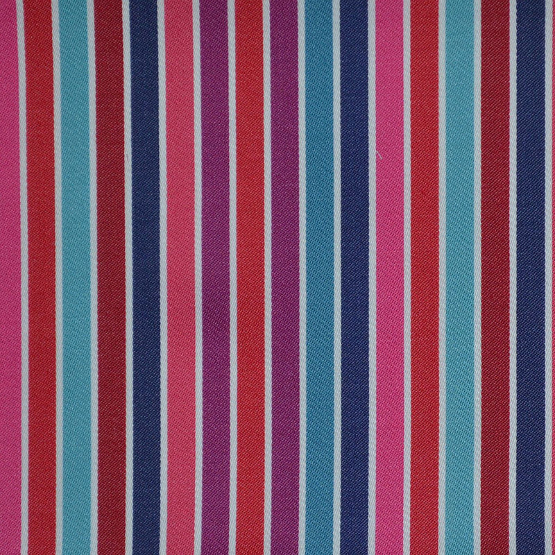 Blue, Pink, White & Red Multi Stripe Cotton Shirting
