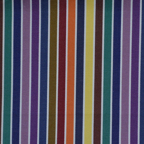 Brown, Purple, Blue & Yellow Multi Stripe Cotton Shirting