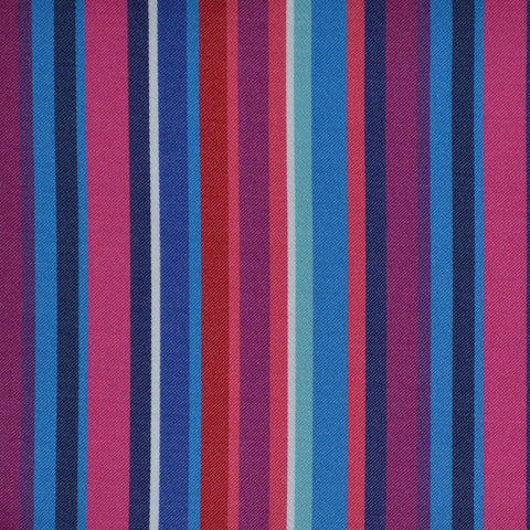 Pink, Red, Blue & White Multi Stripe Cotton Shirting