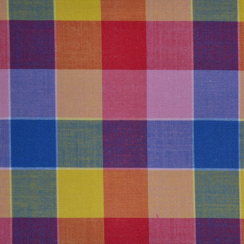 Blue, Pink, Purple & Yellow Multi Check Cotton Shirting