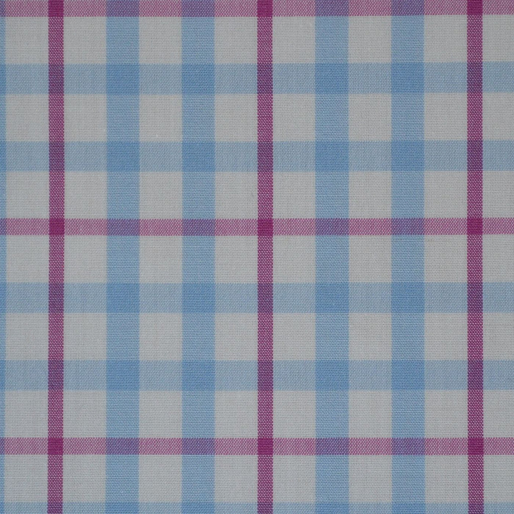 White with Pink & Blue Check Cotton Shirting