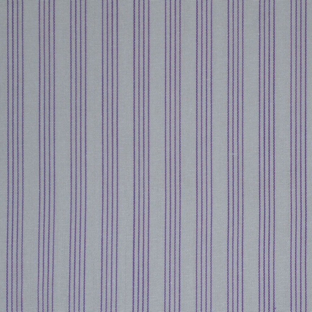 White with Lilac Stripe Cotton Shirting