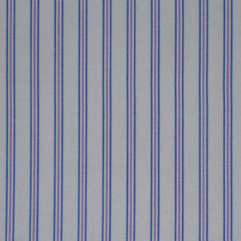 White with Blue & Lilac Stripe Cotton Shirting