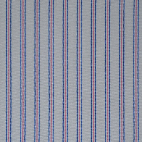 White with Blue & Pink Stripe Cotton Shirting