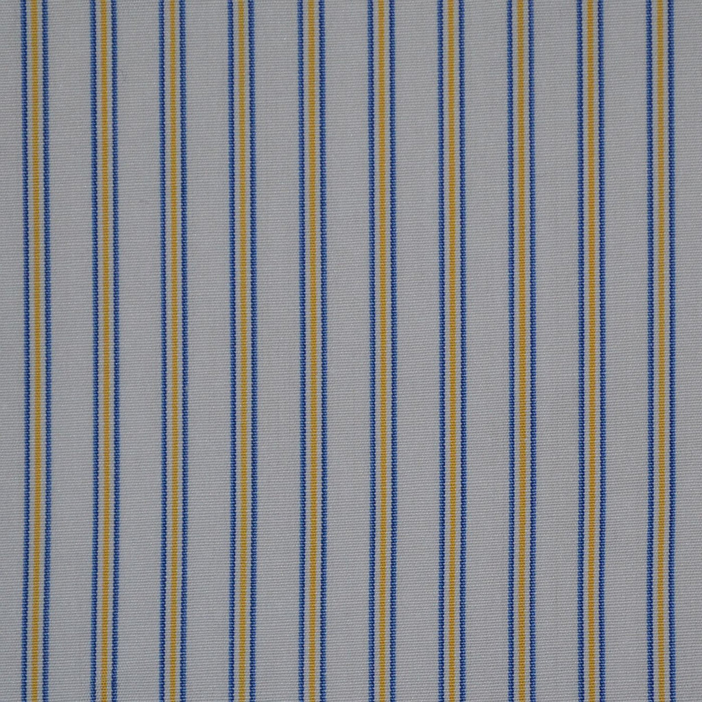 White with Blue & Yellow Stripe Cotton Shirting