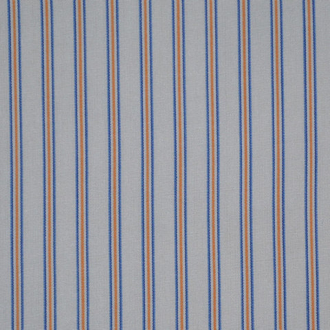 White with Blue & Orange Stripe Cotton Shirting