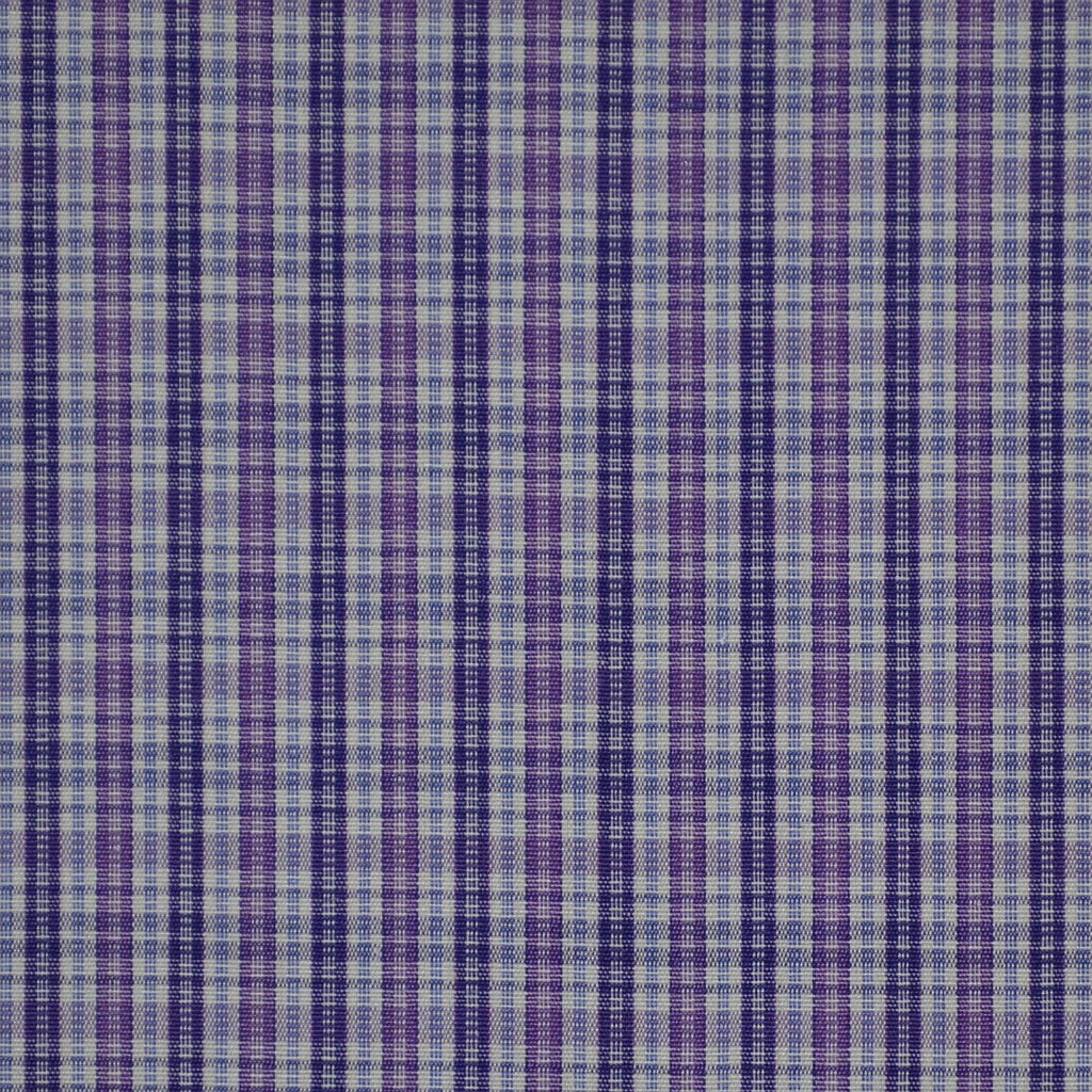 White with Blue & Purple Check Cotton Shirting