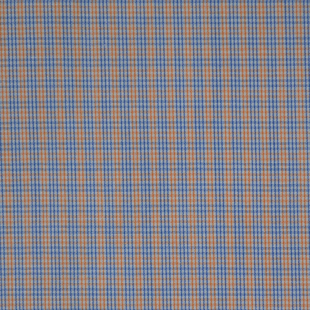 White with Blue & Orange Check Cotton Shirting