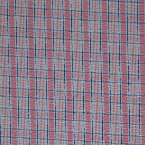 White with Blue & Pink Check Cotton Shirting