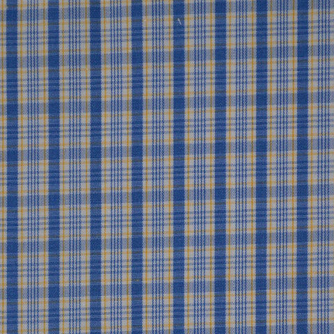 White with Blue & Yellow Check Cotton Shirting