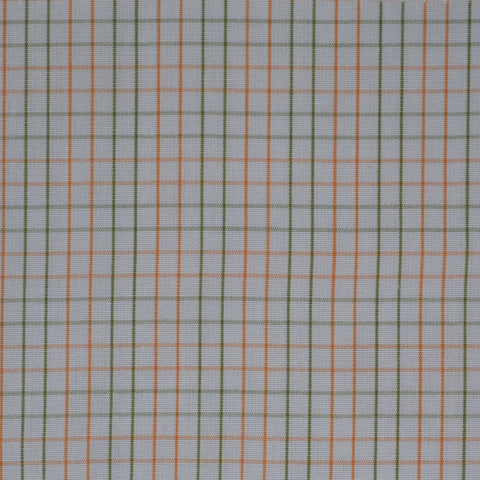 White with Orange & Green Check Cotton Shirting