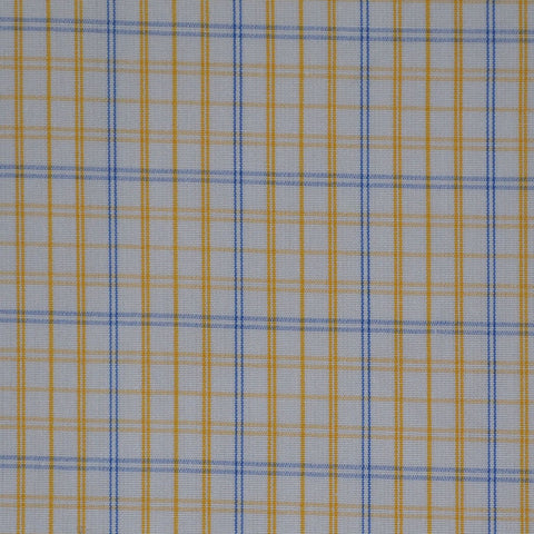 White with Yellow & Blue Check Cotton Shirting