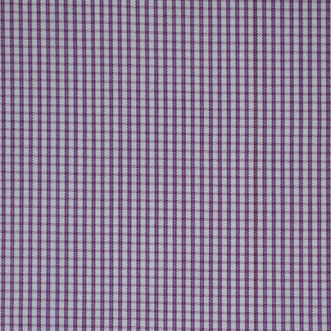 White with Purple Check Cotton Shirting