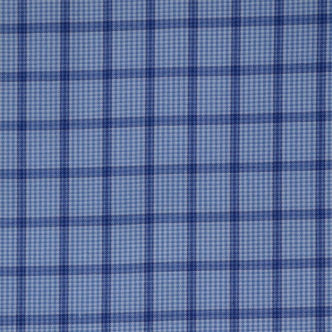 Light Blue with Dark Blue Check Cotton Shirting