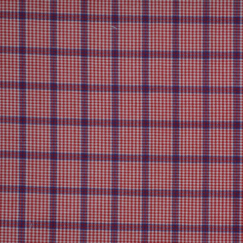 Red with Blue Check Cotton Shirting