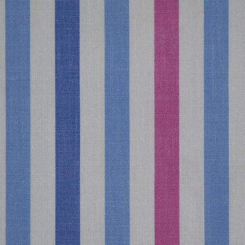 White with Pink & Blue Stripe Cotton Shirting