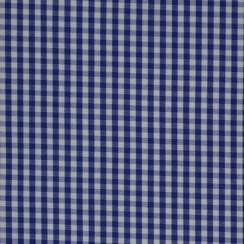 Blue & White Gingham Check Cotton Shirting