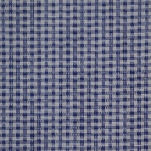 Blue & White Check Cotton Shirting