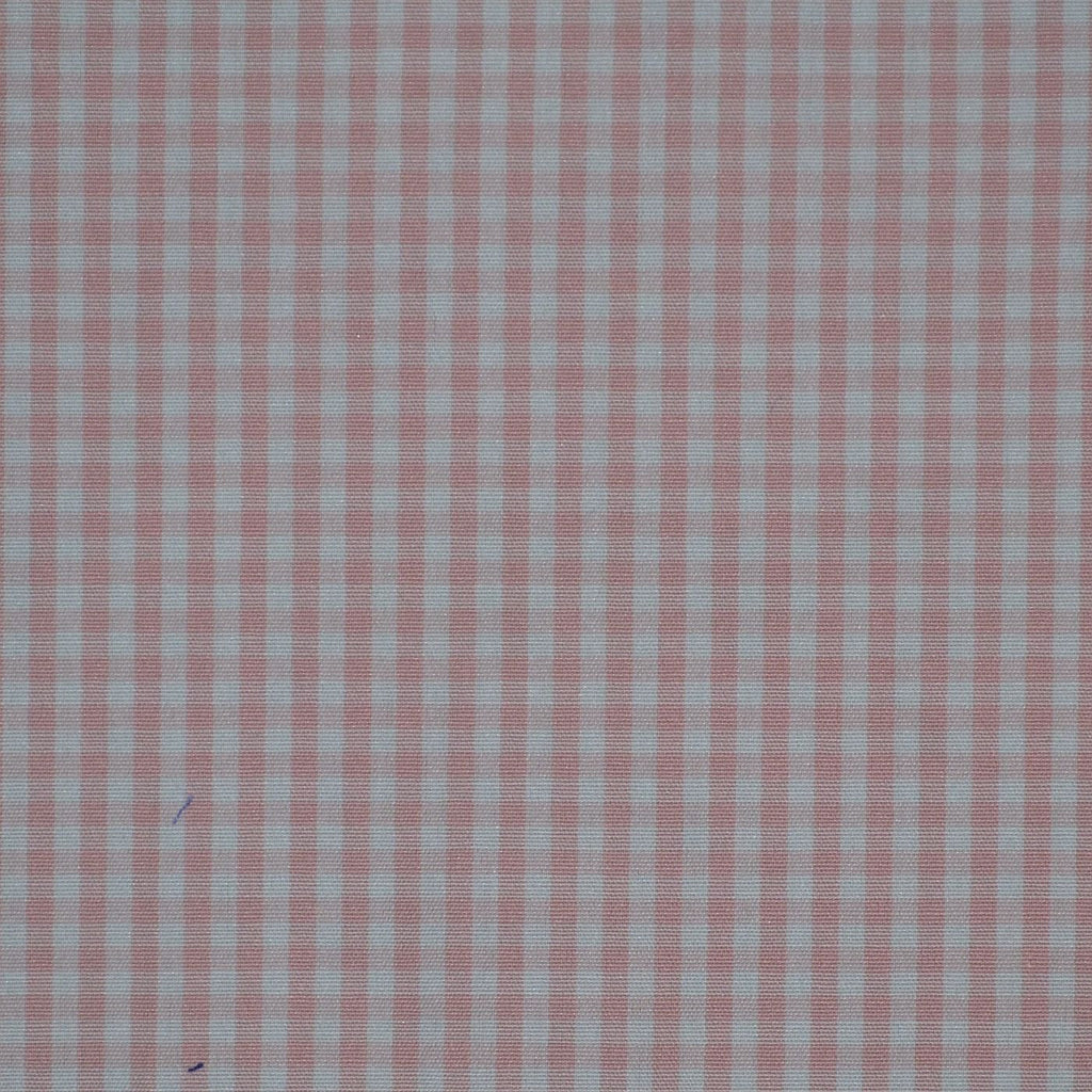 Pink & White Gingham Check Cotton Shirting